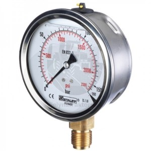 "WIKA Manometer 40 bar, 63 mm – 1/4"", spodné pripojenie"