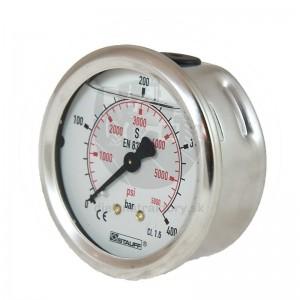 """WIKA Manometer 60 bar, 63 mm – 1/4"""", zadné pripojenie"""