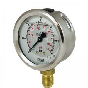 "WIKA Manometer 60 bar, 63 mm – 1/4"", spodné pripojenie"