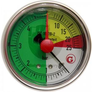"""WIKA nerezový manometer 25bar, uchytenie zadné 1/4"""""""