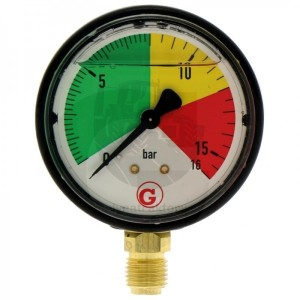 "WIKA plastový manometer 16 bar, uchytenie dolu 1/4"""
